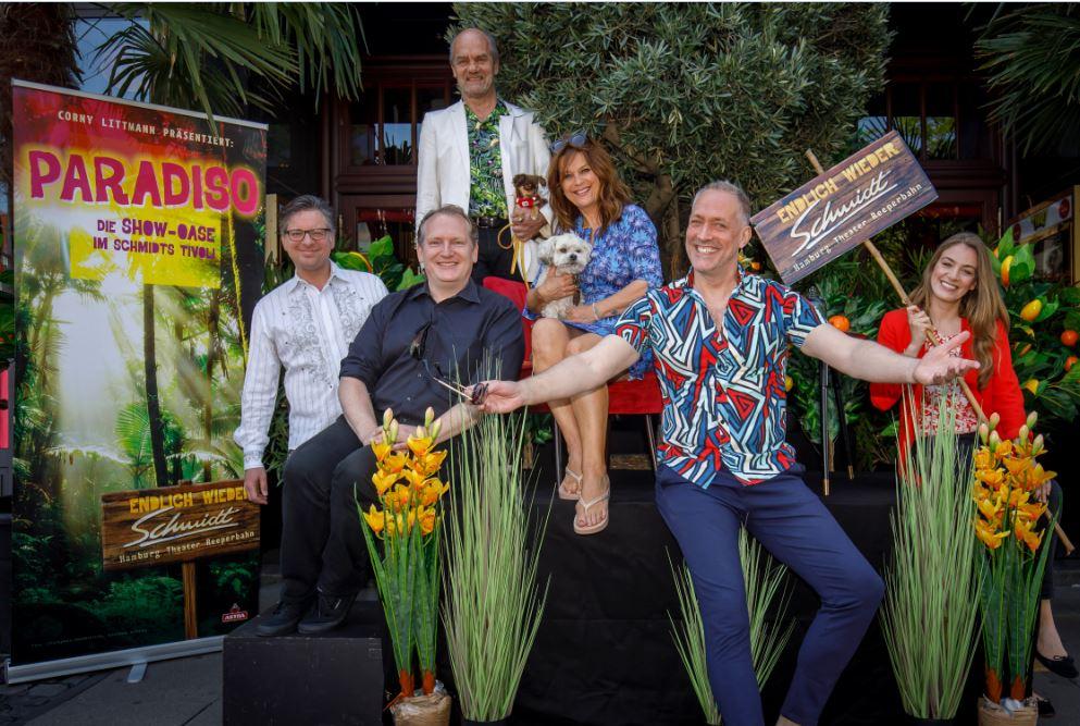 Paradiso Schmidts Tivoli Pressekonferenz  -(Martin Lingnau, David Harrington, Corny Littmann, Carolin Fortenbacher, Nik Breidenbach, Tessa Aust) Foto: Morris Mac Matzen